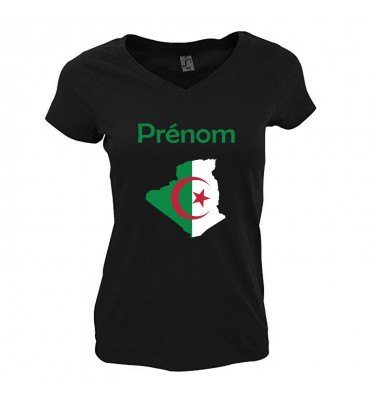 T-shirt noir Femme Col V...