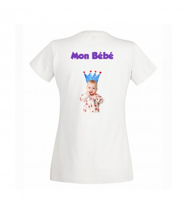 T-shirt Femme Col V Blanc...