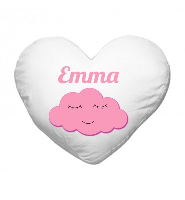 Coussin Coeur Nuage Rose